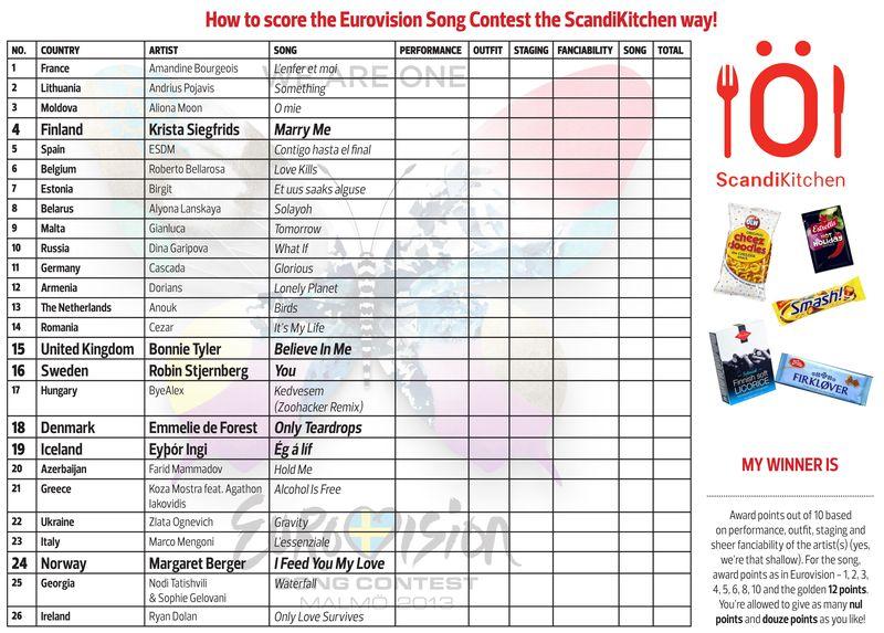 ScandiKitchen Eurovision 2013